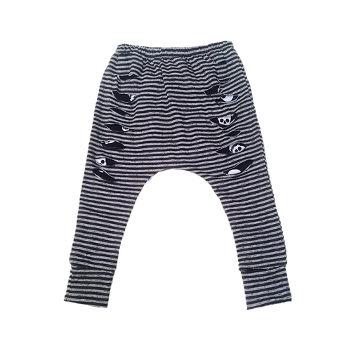Grey Stripe Peek-a-Boo Skull Baby Harem Style Drop Crotch Pants / Baby Leggings-onesie-baby-Little Misfits-tattoo-sleeves-trendy-baby-clothes-for-boys-girls-toddler