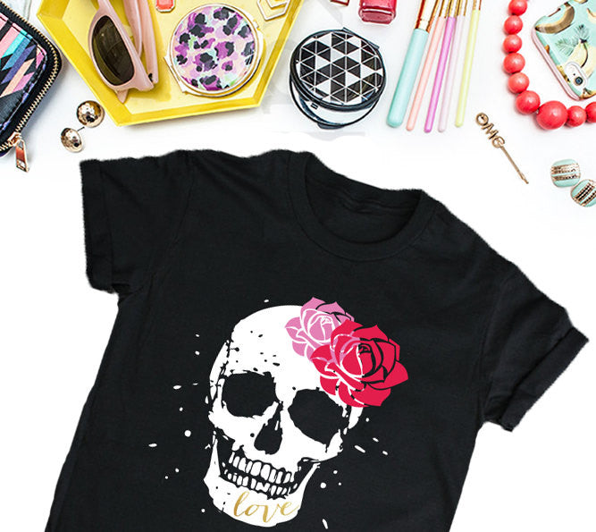 Sugar Skull Women's T-Shirt, Women's Streetwear T-shirt, Black Shirt, Funny T-Shirt, Edgy T-Shirt, Good Girls T-Shirt Tee-onesie-baby-Misfit Culture-tattoo-sleeves-trendy-baby-clothes-for-boys-girls-toddler