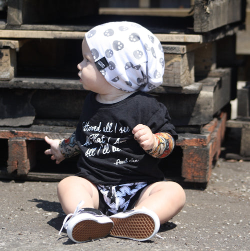 Skull So Hard Baby or Kids Beanie-onesie-baby-Little Misfits-tattoo-sleeves-trendy-baby-clothes-for-boys-girls-toddler