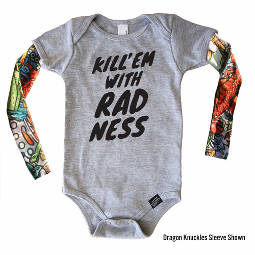 Kill 'Em With Radness (Grey) - Tattoo Sleeve Onesie-onesie-baby-Little Misfits-tattoo-sleeves-trendy-baby-clothes-for-boys-girls-toddler