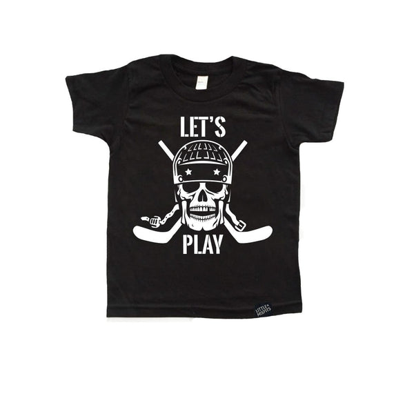 Let's Play Toddler or Kids Hockey Shirt-onesie-baby-Little Misfits-tattoo-sleeves-trendy-baby-clothes-for-boys-girls-toddler