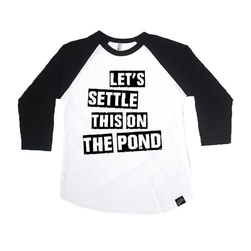 Let's Settle This On The Pond Toddler or Kids Hockey Raglan / Kids Baseball Shirt-onesie-baby-Little Misfits-tattoo-sleeves-trendy-baby-clothes-for-boys-girls-toddler