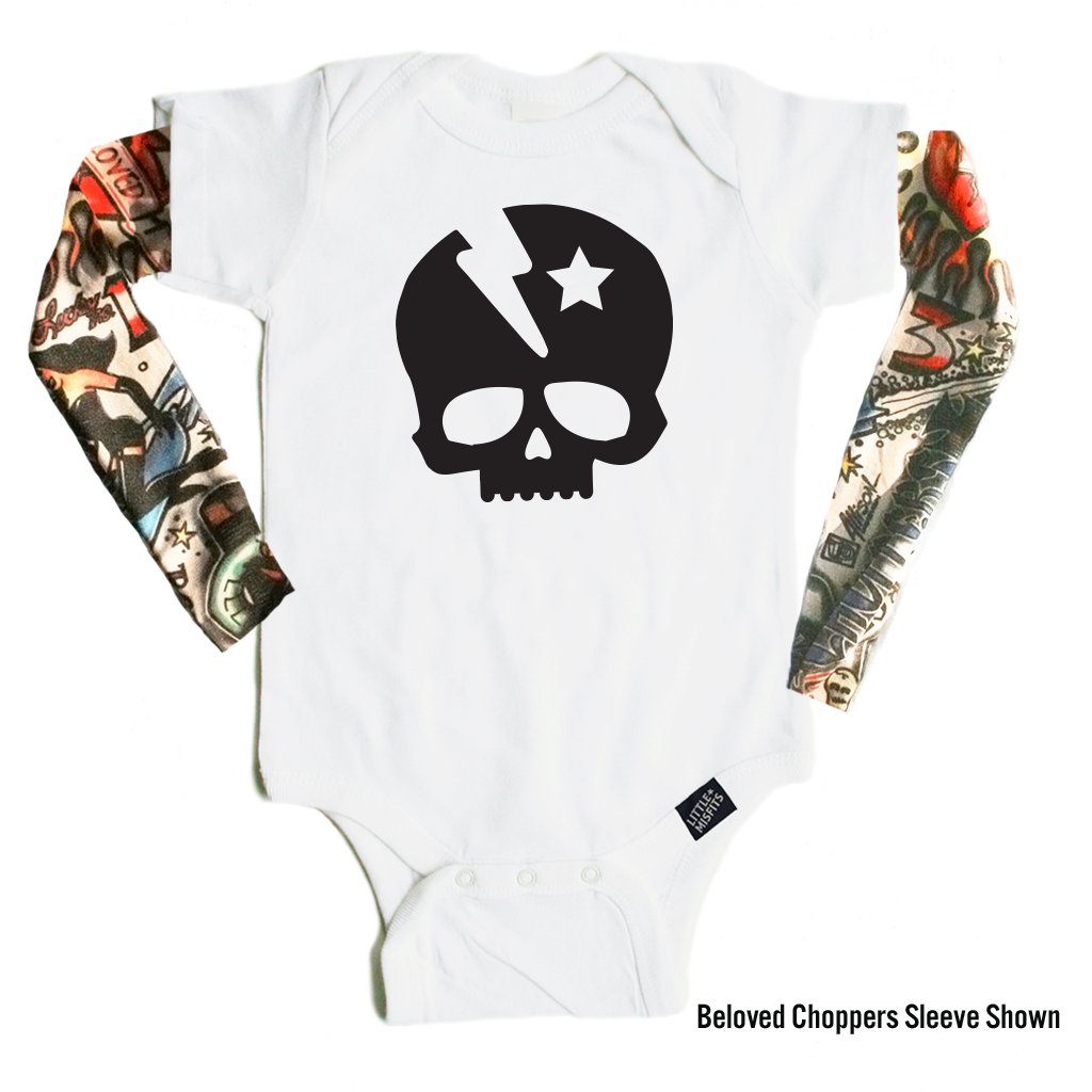 Lightening Bolt Skull - Tattoo Sleeve Baby Onesie-onesie-baby-Little Misfits-tattoo-sleeves-trendy-baby-clothes-for-boys-girls-toddler
