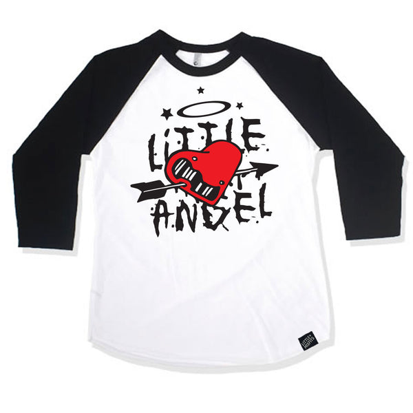Little Angel Black 3/4 Sleeve Raglan-onesie-baby-Little Misfits-tattoo-sleeves-trendy-baby-clothes-for-boys-girls-toddler