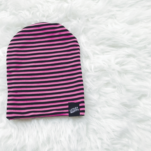 Hot Pink & Black Striped Baby or Kid's Slouch Beanie-onesie-baby-Little Misfits-tattoo-sleeves-trendy-baby-clothes-for-boys-girls-toddler