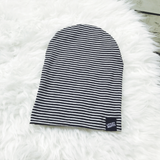 Grey & Black Pinstripe Baby or Kid's Slouch Beanie-onesie-baby-Little Misfits-tattoo-sleeves-trendy-baby-clothes-for-boys-girls-toddler