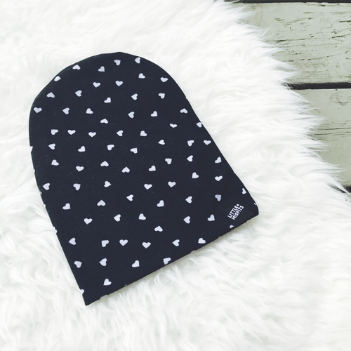 Scattered Hearts Black and White Baby or Kid's Slouch Beanie-onesie-baby-Little Misfits-tattoo-sleeves-trendy-baby-clothes-for-boys-girls-toddler