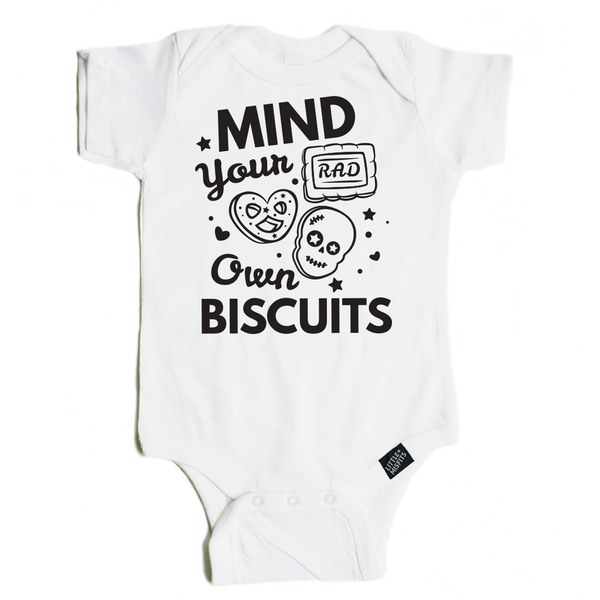 Mind Your Own Biscuits Baby or Infant Tattoo Sleeve Onesie-onesie-baby-Little Misfits-tattoo-sleeves-trendy-baby-clothes-for-boys-girls-toddler