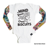 Mind Your Own Biscuits - Tattoo Sleeve Onesie-onesie-baby-Little Misfits-tattoo-sleeves-trendy-baby-clothes-for-boys-girls-toddler