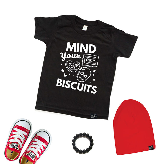 Mind Your Own Biscuits - Youth T-Shirt-onesie-baby-Little Misfits-tattoo-sleeves-trendy-baby-clothes-for-boys-girls-toddler