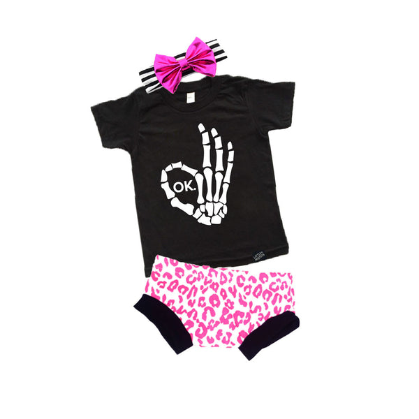 Skeleton & Leopard Print Baby Gift Set (aka the perfect baby shower gift)-onesie-baby-Little Misfits-tattoo-sleeves-trendy-baby-clothes-for-boys-girls-toddler