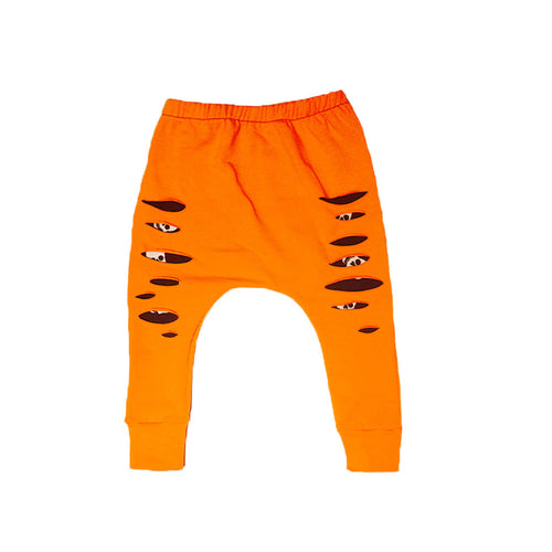 Orange with Skull Underlay Harem Style Drop Crotch Pants / Baby Leggings-onesie-baby-Little Misfits-tattoo-sleeves-trendy-baby-clothes-for-boys-girls-toddler
