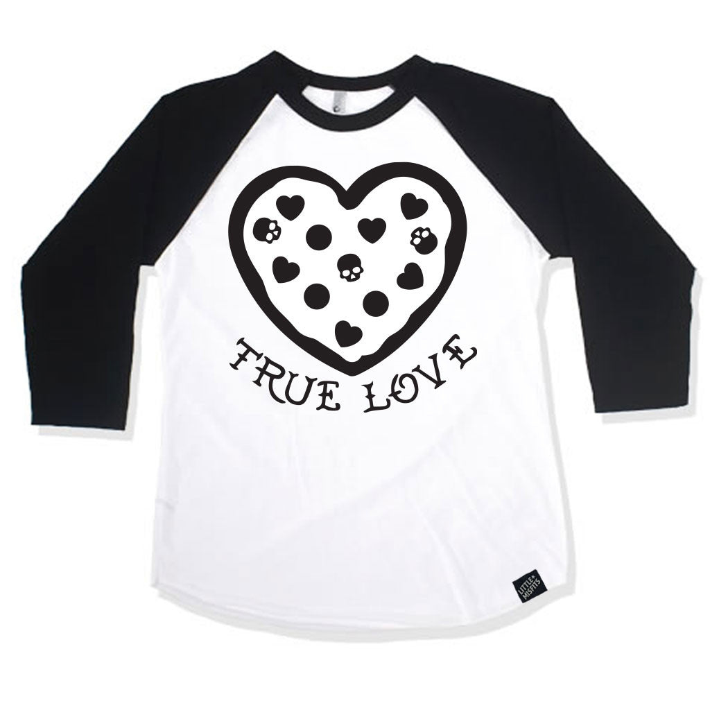 Pizza Is My True Love Boys or Girls Black 3/4 Sleeve Raglan-onesie-baby-Little Misfits Black Friday Only-tattoo-sleeves-trendy-baby-clothes-for-boys-girls-toddler