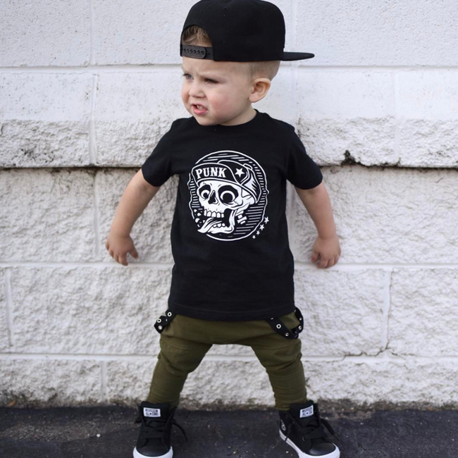 Punk Skull Kid's T-Shirt-onesie-baby-Little Misfits-tattoo-sleeves-trendy-baby-clothes-for-boys-girls-toddler