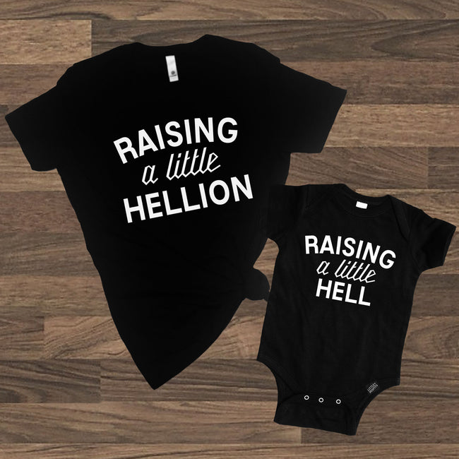 Raising a Little Hellion + Raising a Little Hell Adult T-shirt and Kid's Onesie Set - Mommy and Me Set-onesie-baby-Little Misfits-tattoo-sleeves-trendy-baby-clothes-for-boys-girls-toddler