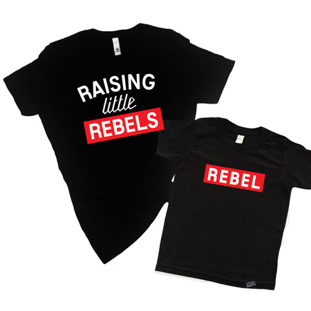Raising a Little Hellion + Raising a Little Hell Adult T-shirt and Kid's T-Shirt Set - Mommy and Me Set