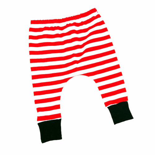 Red and White Striped Baby Christmas Harem Drop Crotch Pants / Baby Leggings-onesie-baby-Little Misfits-tattoo-sleeves-trendy-baby-clothes-for-boys-girls-toddler