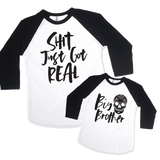 Shit Just Got Real + Big Brother Pregnancy Announcement Set-onesie-baby-Little Misfits-tattoo-sleeves-trendy-baby-clothes-for-boys-girls-toddler