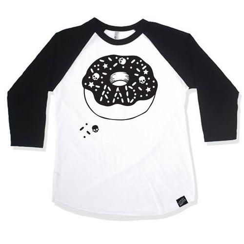 Skull Donut Boys or Girls Black 3/4 Sleeve Raglan-onesie-baby-Little Misfits Black Friday Only-tattoo-sleeves-trendy-baby-clothes-for-boys-girls-toddler
