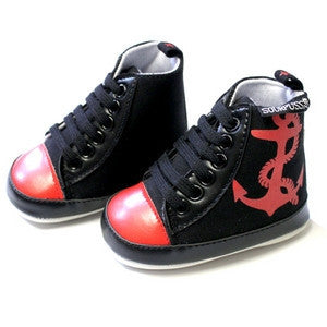 Red / Black Anchor Shoes-onesie-baby-Sourpuss-tattoo-sleeves-trendy-baby-clothes-for-boys-girls-toddler