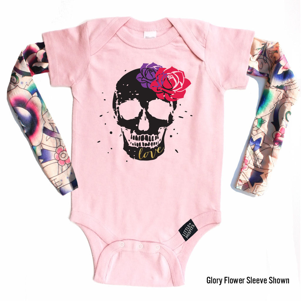 Sugar Skull (Pink) - Tattoo Sleeve Onesie-onesie-baby-Little Misfits-tattoo-sleeves-trendy-baby-clothes-for-boys-girls-toddler