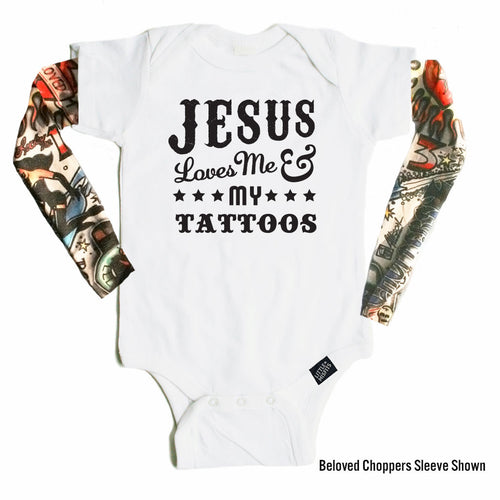 Jesus Loves Me and My Tattoos - Tattoo Sleeve Onesie-onesie-baby-Little Misfits-tattoo-sleeves-trendy-baby-clothes-for-boys-girls-toddler