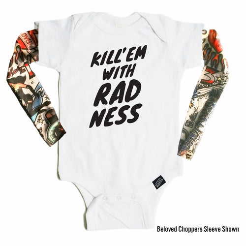 Kill 'Em With Radness - Tattoo Sleeve Onesie-onesie-baby-Little Misfits-tattoo-sleeves-trendy-baby-clothes-for-boys-girls-toddler