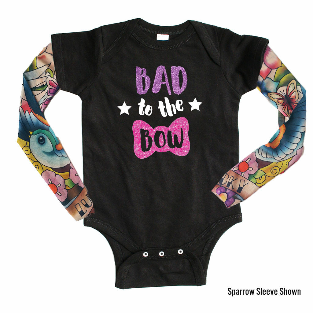 Bad to the Bow - Tattoo Sleeve Onesie-onesie-baby-Little Misfits-tattoo-sleeves-trendy-baby-clothes-for-boys-girls-toddler