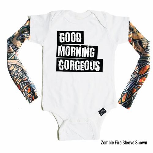 Good Morning Gorgeous - Tattoo Sleeve Onesie-onesie-baby-Little Misfits-tattoo-sleeves-trendy-baby-clothes-for-boys-girls-toddler