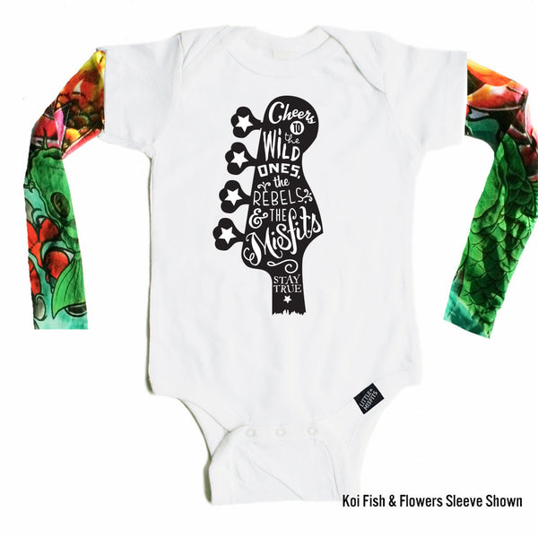 Guitar Creed - Tattoo Sleeve Onesie-onesie-baby-Little Misfits-tattoo-sleeves-trendy-baby-clothes-for-boys-girls-toddler