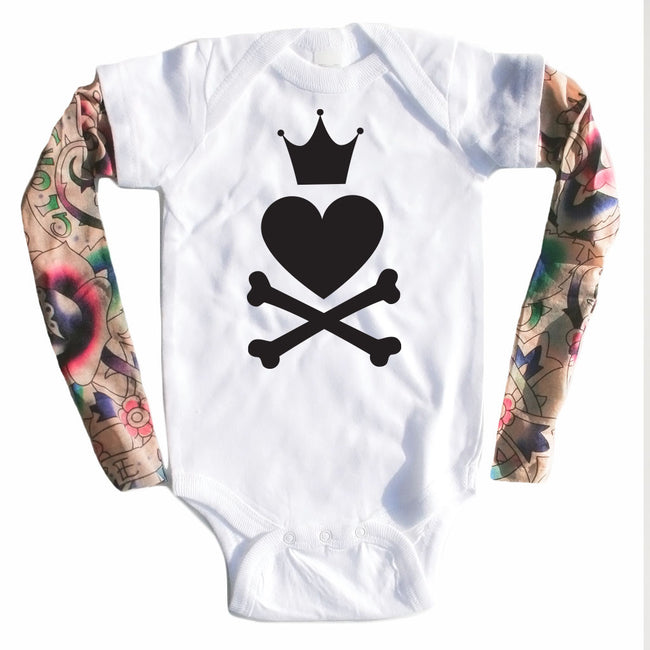 Punk Princess - Tattoo Sleeve Onesie-onesie-baby-Little Misfits-tattoo-sleeves-trendy-baby-clothes-for-boys-girls-toddler