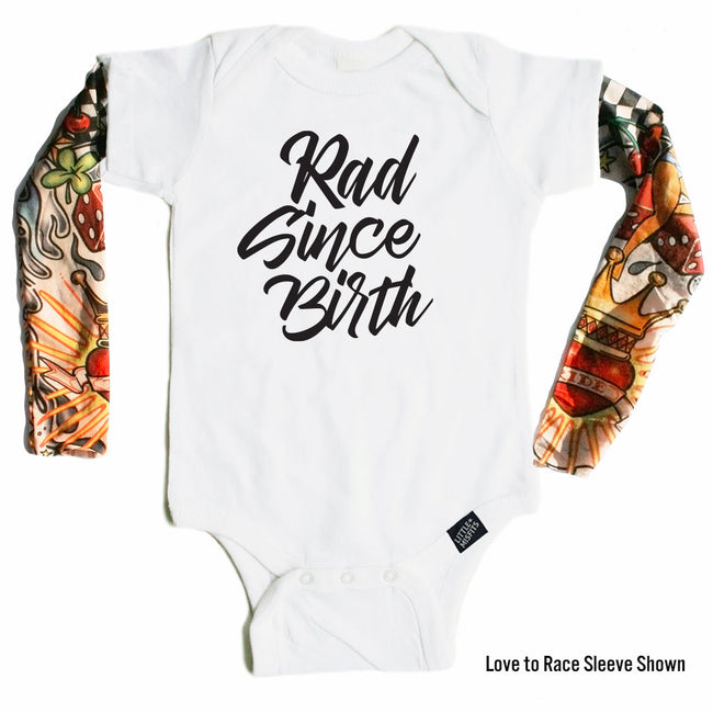 Rad Since Birth - Tattoo Sleeve Onesie-onesie-baby-Little Misfits-tattoo-sleeves-trendy-baby-clothes-for-boys-girls-toddler