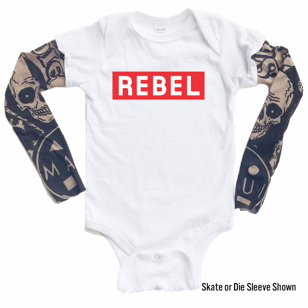 Rebel (Red) - Tattoo Sleeve Onesie-onesie-baby-Little Misfits-tattoo-sleeves-trendy-baby-clothes-for-boys-girls-toddler