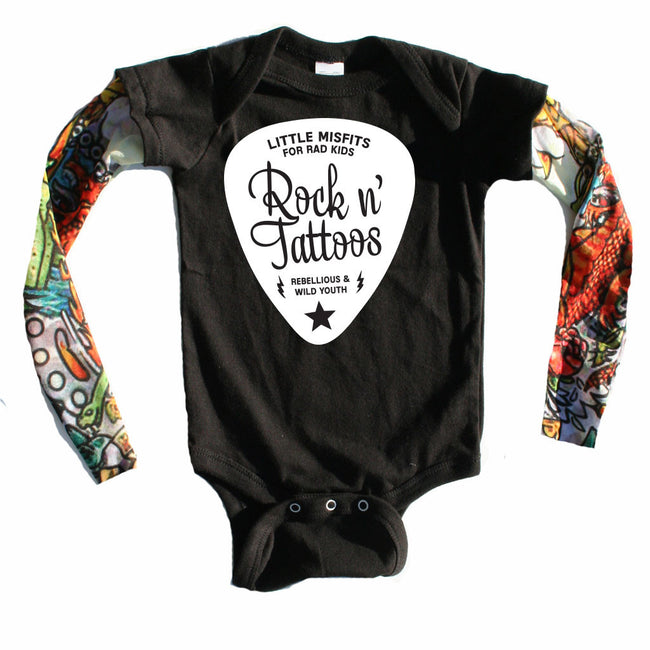 Rock n Tattoos Guitar Pick - Tattoo Sleeve Onesie-onesie-baby-Little Misfits-tattoo-sleeves-trendy-baby-clothes-for-boys-girls-toddler