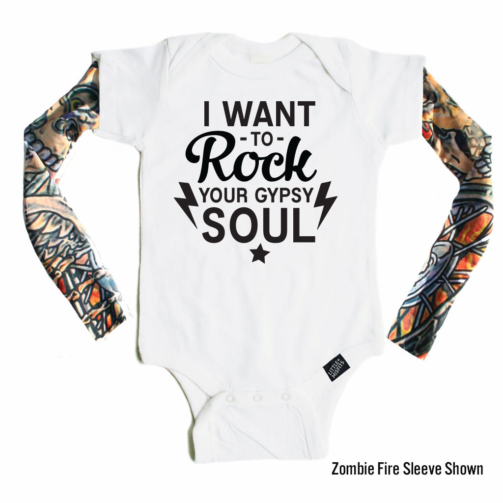Rock Your Gyspy Soul - Tattoo Sleeve Onesie-onesie-baby-Little Misfits-tattoo-sleeves-trendy-baby-clothes-for-boys-girls-toddler