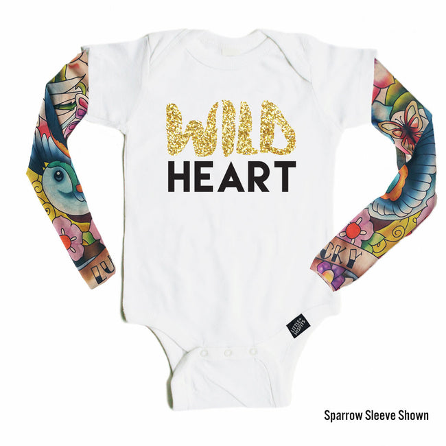 Wild Heart - Tattoo Sleeve Onesie-onesie-baby-Little Misfits-tattoo-sleeves-trendy-baby-clothes-for-boys-girls-toddler