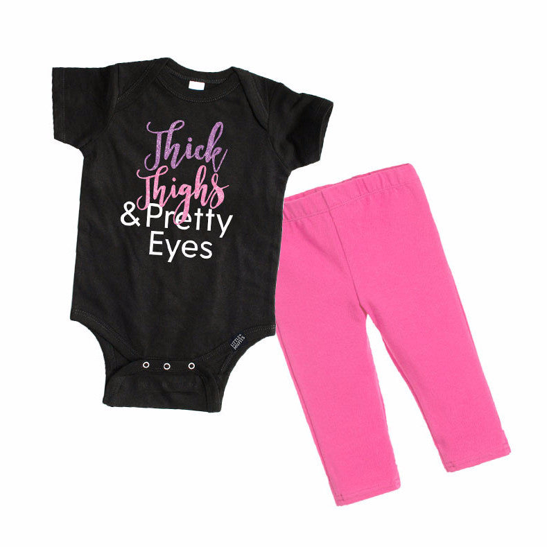 Thick Thighs & Pretty Eyes Baby Girl Gift Set (aka the perfect baby shower gift)-onesie-baby-Little Misfits-tattoo-sleeves-trendy-baby-clothes-for-boys-girls-toddler