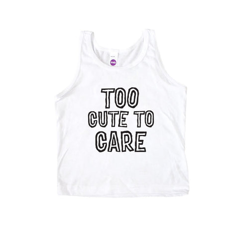 Too Cute to Care Kid's Tank Top-onesie-baby-Little Misfits-tattoo-sleeves-trendy-baby-clothes-for-boys-girls-toddler