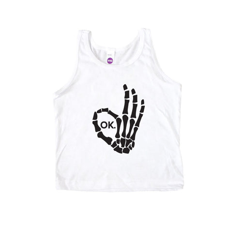 Skeleton Fingers Okay Kid's Tank-onesie-baby-Little Misfits-tattoo-sleeves-trendy-baby-clothes-for-boys-girls-toddler