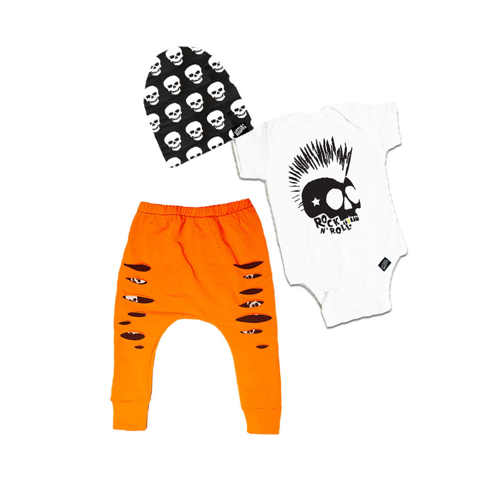 Rock Skull Halloween Gift Set-onesie-baby-Little Misfits-tattoo-sleeves-trendy-baby-clothes-for-boys-girls-toddler