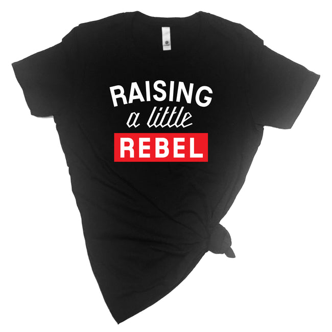 Raising a Little Rebel + Rebel Adult T-shirt and Kid's Onesie Set - Mommy / Daddy and Me Set-onesie-baby-Little Misfits-tattoo-sleeves-trendy-baby-clothes-for-boys-girls-toddler