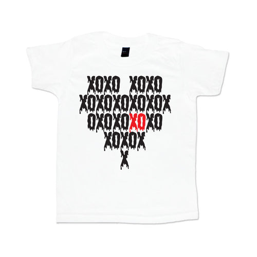 XO Heart Tattoo Sleeve Youth Tee-onesie-baby-Little Misfits-tattoo-sleeves-trendy-baby-clothes-for-boys-girls-toddler