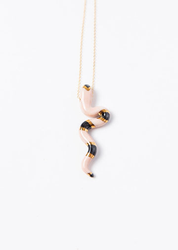Large Serpente Pendant - Striped Rose/ Black
