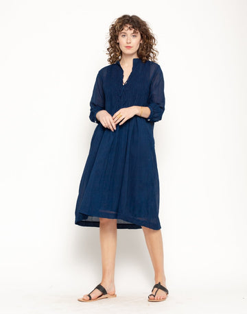 Aditi Cotton Gauze Dress, Natural Indigo