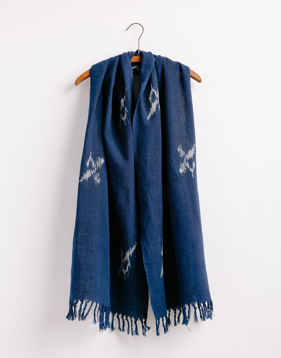 Bird Ikat Scarf Natural Indigo