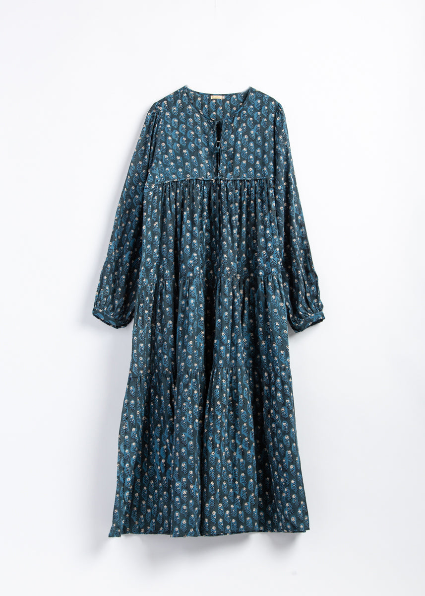 Yamini Dabu Dress - Natural Indigo