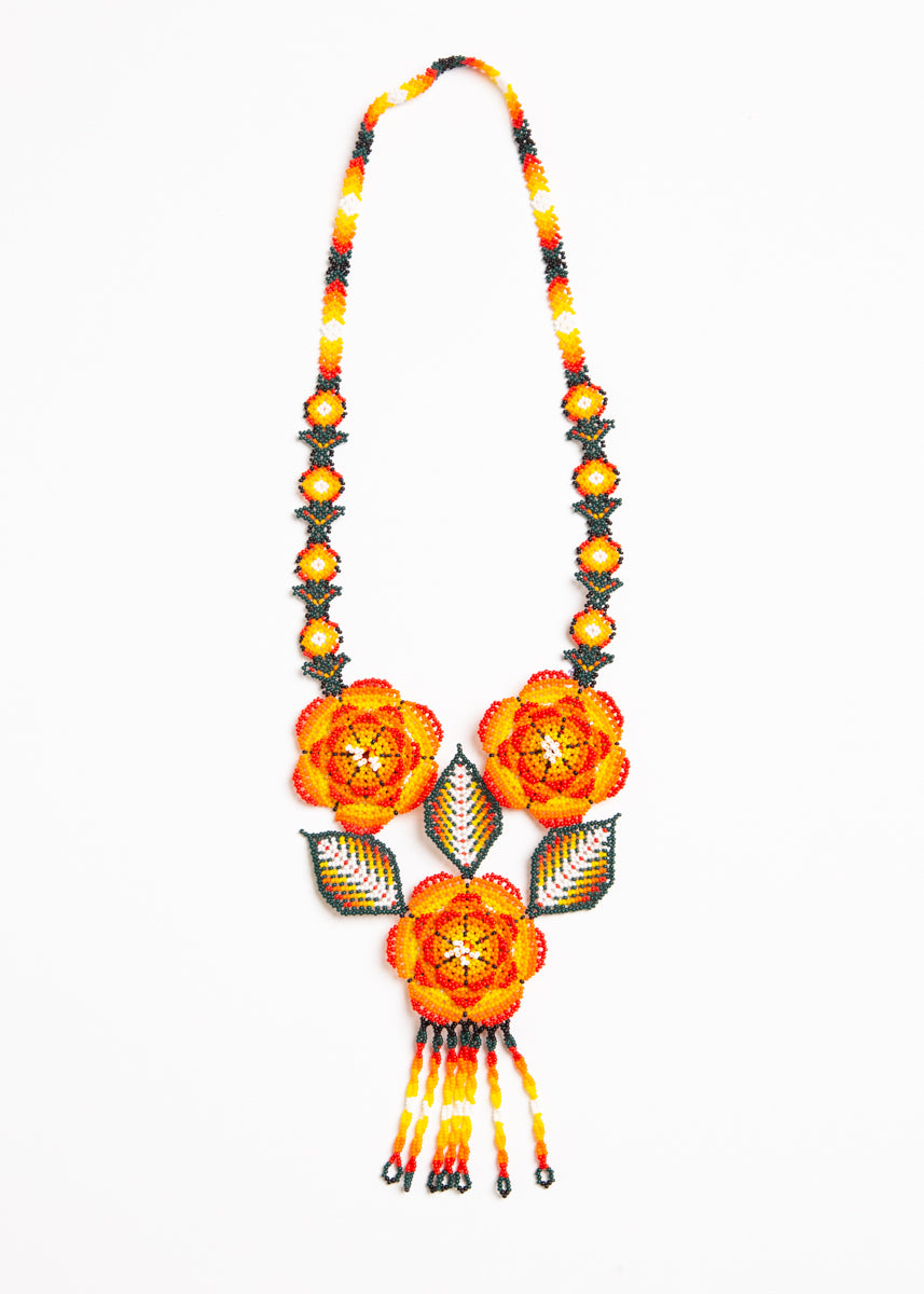 Huichol 3D Lg Flowers Necklace