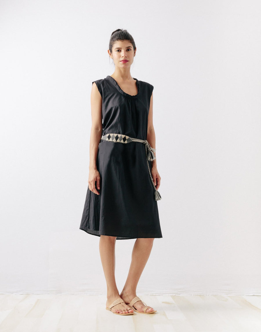 Puja Silk & Cotton Dress, Black
