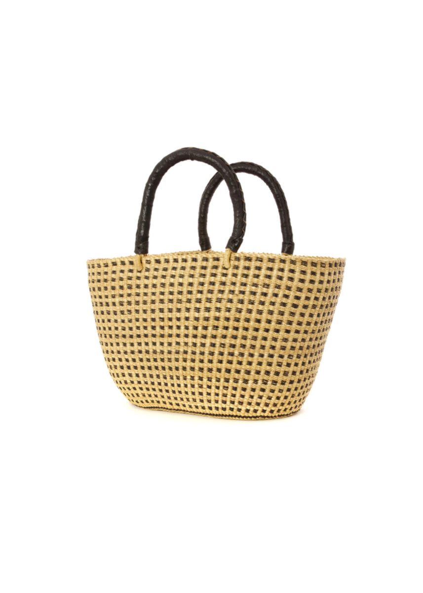 Swahili Black Dot Shopper w/Leather Handles