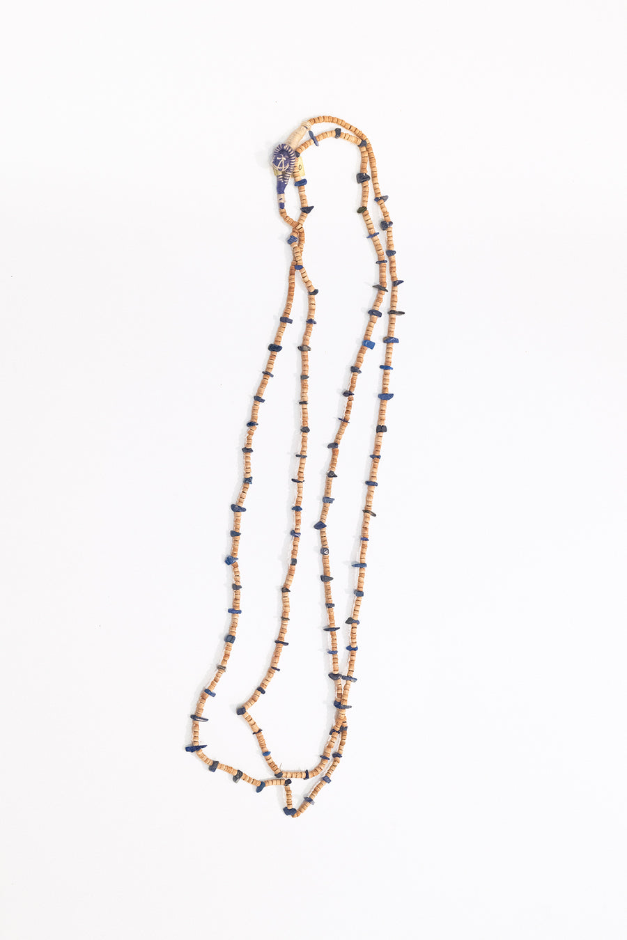 Lapis And Tulsi Wood Necklace